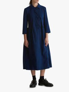 Toast Needlecord Tie Front Bright Indigo Blue Dress Size UK14 NWT