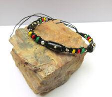 ein Armband Horn Perlen Makramee Damen Herren Unisex Hippie Strand Rasta NEU!