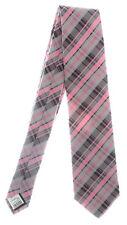 Seidenkrawatte kariert rosa lila grau Herren Krawatte 100% Seide