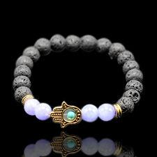 1PC Fashion Men's Natural Silver Buddha Beaded Lava Spot Stone Charm Bracelet