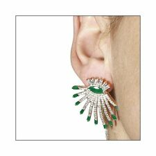 STUNNING DROP STUD EARRINGS W/ LAB DIAMONDS & EMERALDS / SZ 35MM BY 31MM