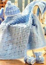 VINTAGE CROCHET PATTERN BABY BLANKET, 0 - 12 MTH HAT & BOOTEES BALLOON DESIGN