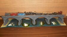HO SCALE DOUBLE TRACK CAST RESIN STONE BRIDGE 40 INCHES LONG USE W/ WATER OR NOT