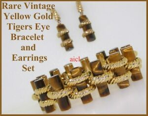 VINTAGE RARE FINE QUALITY TIGERS EYE 14k YELLOW GOLD BRACELET and EARRINGS SET