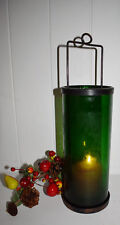 Boston Style Lantern Green Glass Iron Cradle 36cm x10x10cm