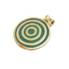 Turquoise Solid Brass Pendant Tibetan Nepalese Handmade Tibet Nepal UP1137