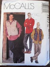 McCall's  sewing pattern no.7817 Male long sleeve shirt & vest size 40.42,44