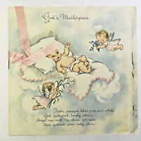 Vintage 1950s Used Hallmark Baby Birth Congratulations Greeting Card Booklet