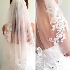 US Stock 1 Layer Elbow Wedding Bridal Veil With Comb Lace Edge Accessories Stone