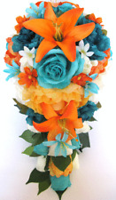 17 piece Wedding Bouquet package Bridal Silk Flowers ORANGE TANGERINE AQUA TEAL