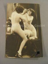 AK146, Foto, Akt, Erotik, NACKTE FRAU VORM SPIEGEL, Busen, Po, Brüste, um 1910