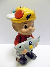 Vintage Ceramic Smiley Boy Fisherman with Fly Ties on Hat Atlantic Mold 70s