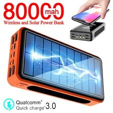 Wireless Power Bank 80000mAh Solar Battery Pack External Battery Charger LED