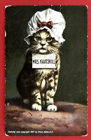Künstler AK Katzen 1907 Katze in Menschengestalt Mrs. Kaatskill  ( 67684