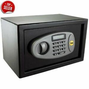 YALE Small LCD Digital Safe Steel 8 Litre Cash Money Valuables Deposit + FIXINGS