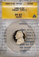 1981-S Type 1 5C Jefferson Nickel PF 67 DCAM ANACS # 4528577 + Bonus