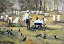 """Valerie Batchelor original acrylic park landscape """"Deckchair Duty"""" signed"""