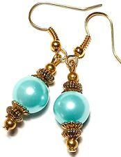 Short Gold Turquoise Pearl Earrings Drop Dangle Pierced Hook Glass Bead Classy