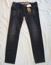 LEROCK Black Swarovski Crystal Embellished Distressed Stretch Denim Jeans 30
