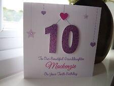 Handmade Personalised Girls Birthday Card Daughter Granddaughter 13 16 18 21 etc