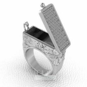 Secret Compartment Openable Poison box 925 Sterling Silver Ring
