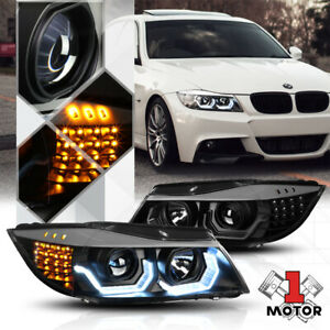 Black [DUAL 3D U-HALO] Projector Headlight LED Signal for 09-12 BMW E90 3-Series