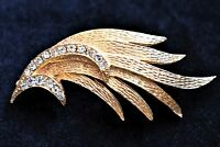 Abstract Flame Brooch Rhinestone Coat Sweater Pin Mid Century Costume Jewelry