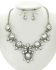 Victorian Style Clear Crystal Stud Burnish Silver Base Floral Necklace Earring