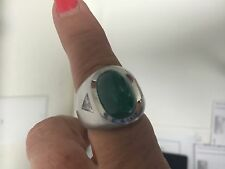 Men's Estate Platinum 14.50 carats Emerald & Diamond Ring 37.80 GRAMS
