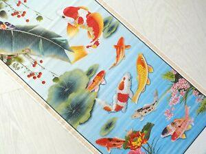CHINESE BAMBOO CANE FENG SHUI WALL HANGING SCROLL JAPANESE KOI CARP FISH 5-5