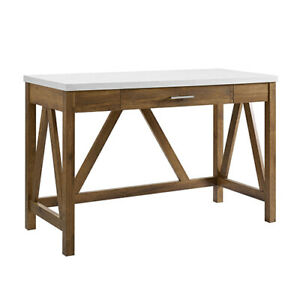 "Walker Edison 46"" A Frame Desk Walnut Base Faux Marble Top Rustic Farmhouse"