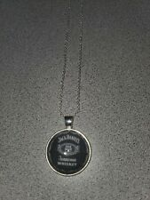 JACK DANIELS NO. 7 TENNESSEE WHISKEY UNISEX SILVER PENDANT NECKLACE ORGANZA BAG