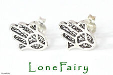 Sterling Silver Hand of Fatima Hamsa Novelty Stud Earrings Protection Quality