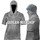 ALUMINIUM CHAIN MAIL SHIRT AND HOOD COIF BUTTED HAUBERGEON VIKING MEDIEVAL ARMOR