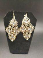 Gorgeous Vintage Rhinestone Filigree Ornate Dangle Earrings
