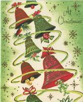 VINTAGE CHRISTMAS ART NOUVEAU RINGING BELLS GREEN WHITE RED MISTLETOE ART CARD