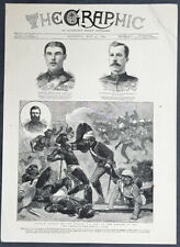 1884 The Graphic Antique Print of Capt Arthur Wilson & Battle of El Teb, Sudan