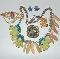 Vintage to Now costume jewelry lot of 5, Coldwater Creek necklace rhinestones