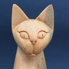 Cat Kitten Figurine Carved Wood Hand Craft