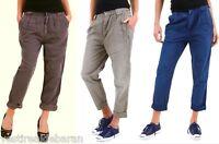 Pantaloni Donna Misto Lino SEXY WOMAN B311 Marrone Grigio Blu XS S M veste++