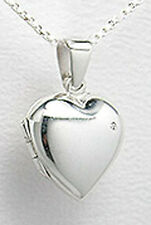"NEW Solid Sterling Silver Sweet Heart Locket Pendant  22x16mm +18"" Chain GORGES"