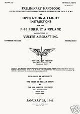 VULTEE P-66 VANGUARD - PRELIMINARY HANDBOOK / T.O.No. 01-50FA-1 / 1942