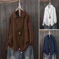 ZANZEA Women Linen Cotton Casual Shirt Tops Long Sleeve Blouse T-Shirt Pullover