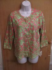 NWT Sarah Spencer Long Sleeve Button Down Floral Print Blouse Womens Size Large