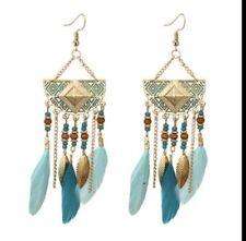 Bohemian Geometric Feather Tassel Earrings