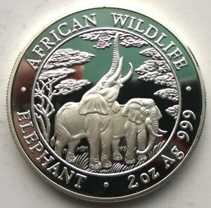 Zambia 2003 Elephant 10000 Kwach 2oz Silver Coin,Proof