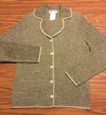 Womens Jaeger Great Britian Wool Blend Cardigan Heavy Sweater Sz L Heather Green