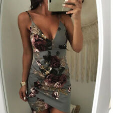 Womens Sexy V Neck Bodycon Strappy Party Cocktail Dress Ladies Floral Clubwear