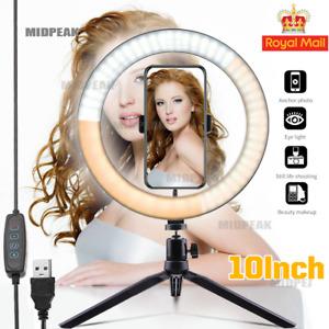 10 Inch LED Ring Light Tripod Stand Book Light For Camera Live Video Lighting uk