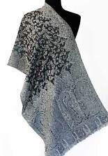 Wool Jamavar Scarf Shawl A Splendid Gift Reversible Black & Pale Blue Pashmina